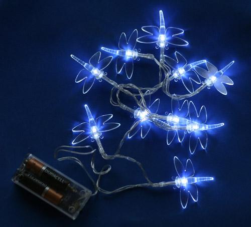 10 led white dragonfly lights on string