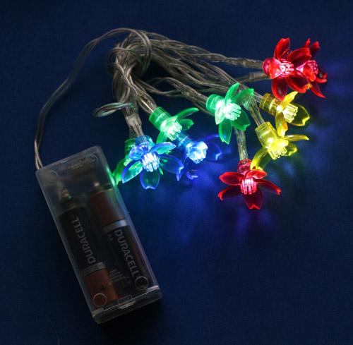 10 led assorted color flower lights on string