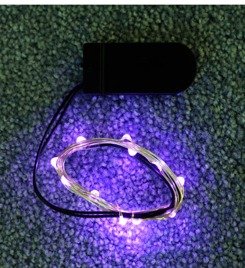 Battery Operated Purple Mini Led Lights 12 Bulbs