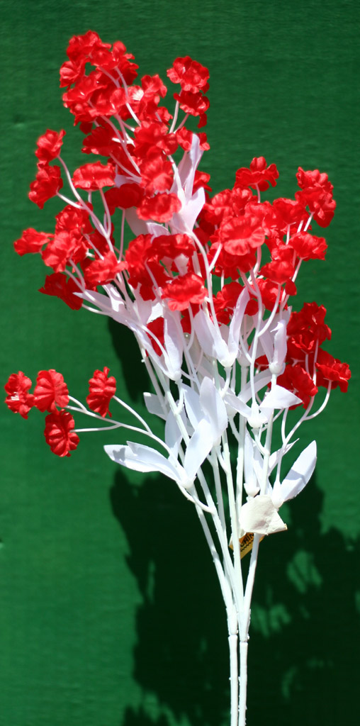Tiny Red Silk Flowers On White Stem 2 Pc 299 Statuary Place